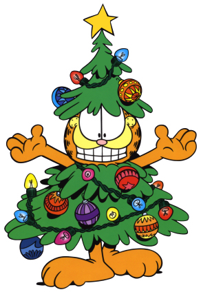 garfield with tree on body