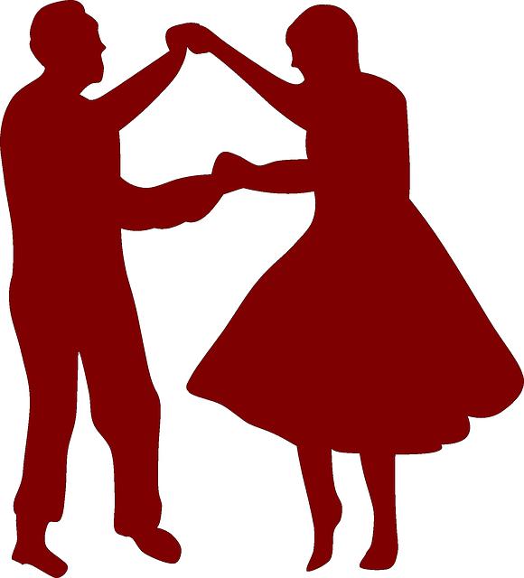 silhouette of people dancing 50's